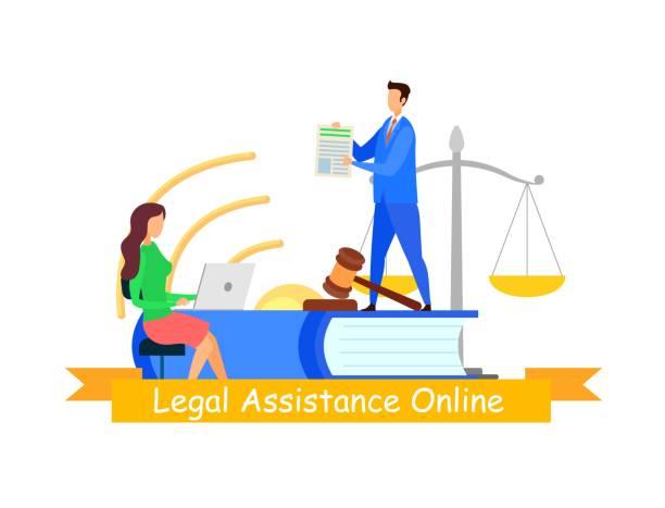 rechtliche hilfe web banner flat vector vorlage - rechtsassistent stock-grafiken, -clipart, -cartoons und -symbole