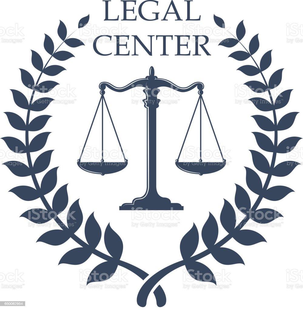 Emblema do centro jurídico com escalas de Justiça ícone - ilustração de arte em vetor
