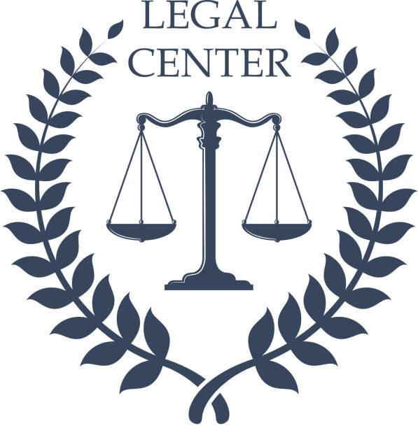 ilustrações, clipart, desenhos animados e ícones de emblema do centro jurídico com escalas de justiça ícone - assistente jurídico