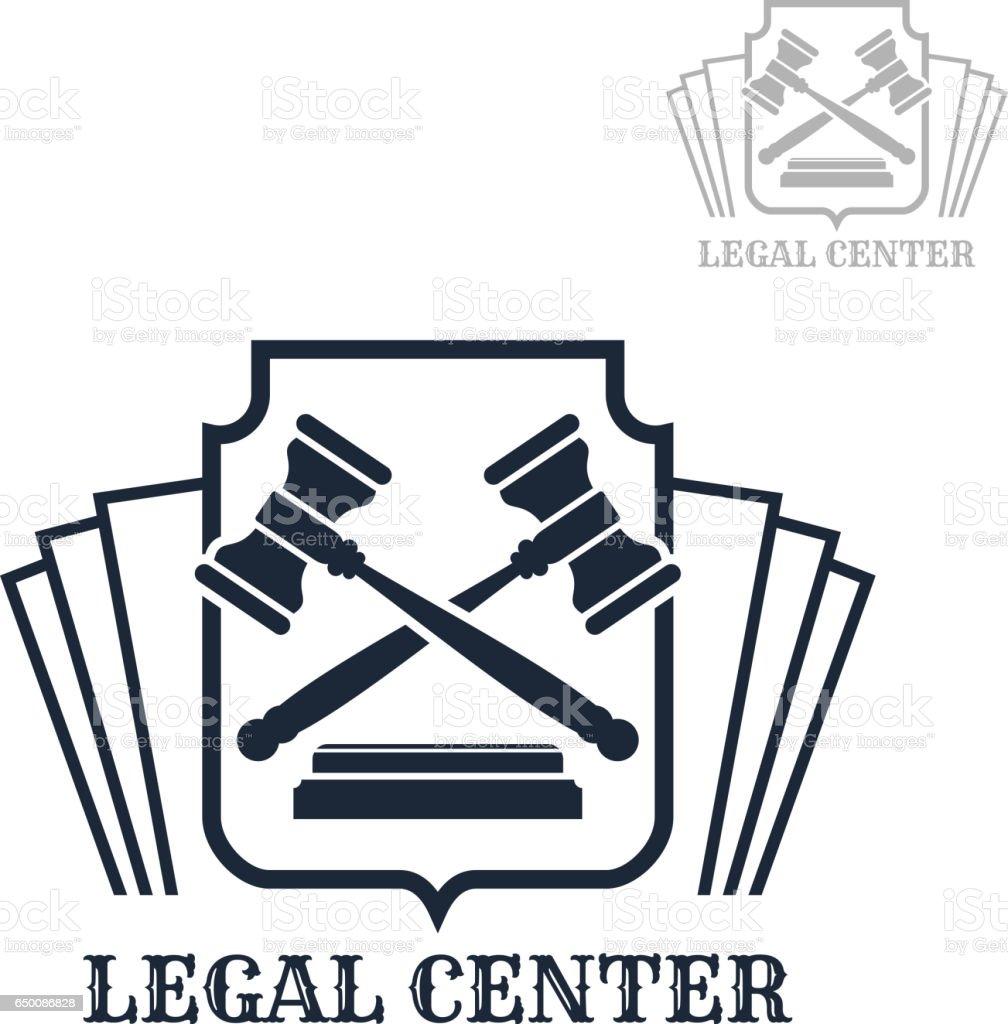 Ícone de vetor centro jurídico do código de direito e martelo - ilustração de arte em vetor
