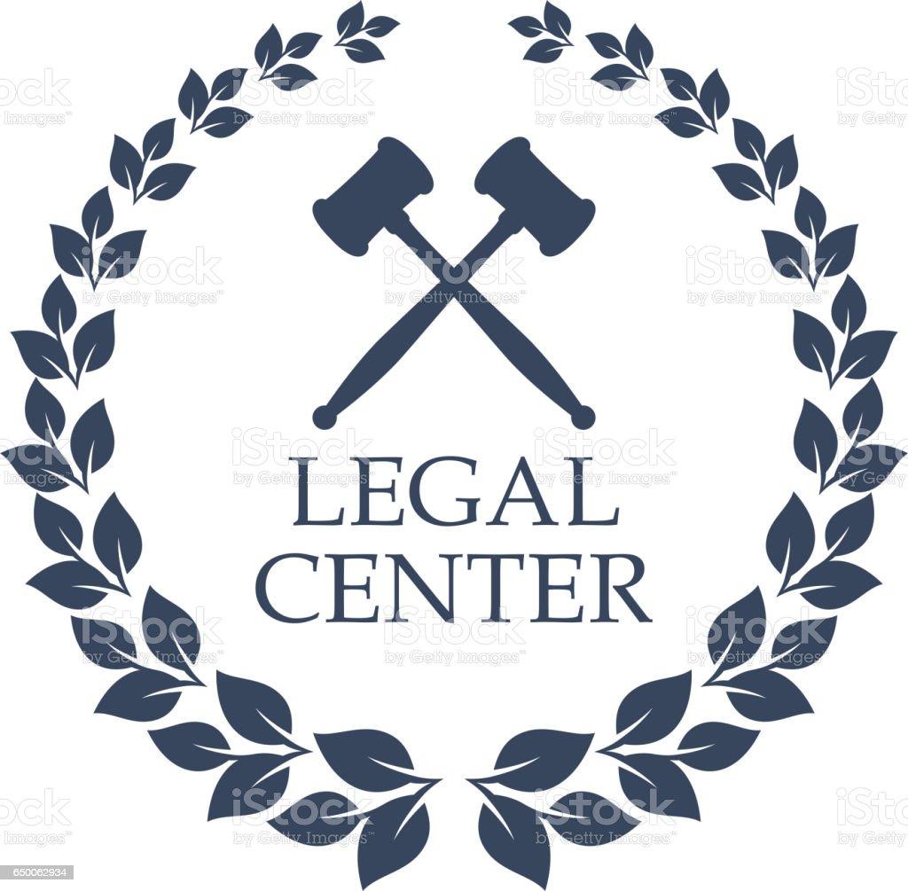Ícone de vetor centro jurídico do martelo do juiz e grinalda - ilustração de arte em vetor