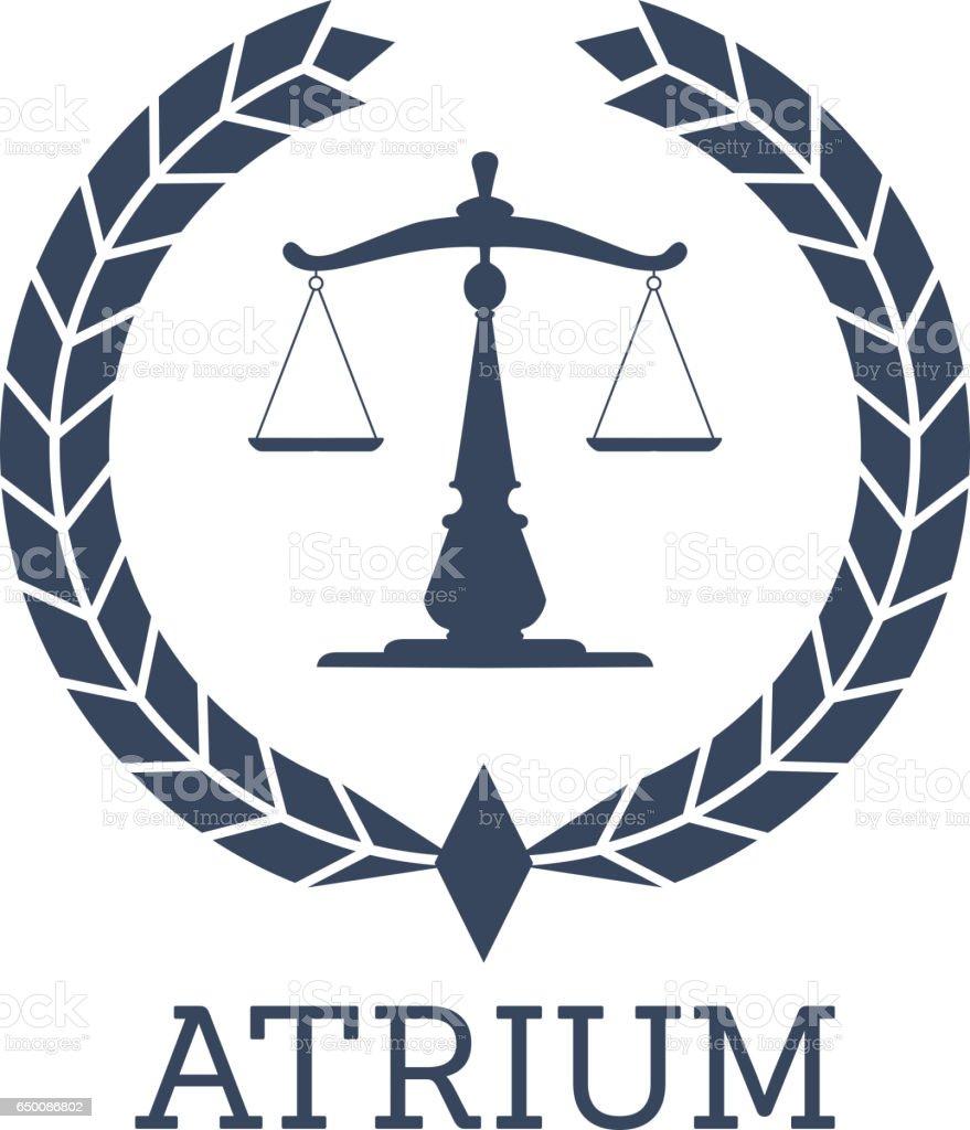 Legal Company Icon Vector Justice Scales Wreath Stock ...