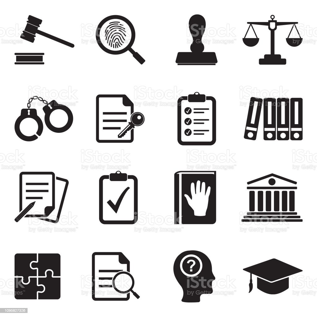 Legal Compliance Standards Icons. Black Flat Design. Vector Illustration. Law, Trial, Judge, Crime, Truth Bible stock vector
