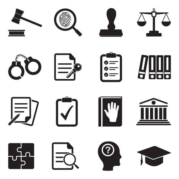 Legal Compliance Standards Icons. Black Flat Design. Vector Illustration. Law, Trial, Judge, Crime, Truth crime stock illustrations