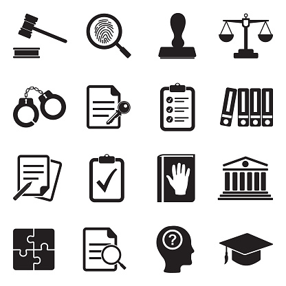 Legal Compliance Standards Icons Black Flat Design Vector Illustration Stock Illustration - Download Image Now
