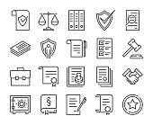 Legal documents icon. Law and justice line icon set. Editable stroke.