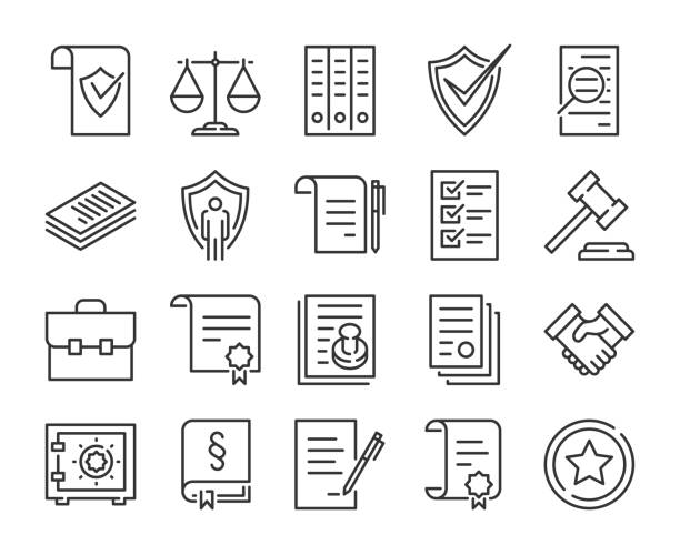 Legal documents icon. Law and justice line icon set. Editable stroke. Legal documents icon. Law and justice line icon set. Editable stroke. form document stock illustrations
