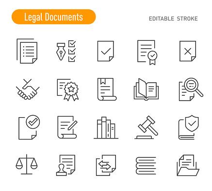 Legal Documents Icons (Editable Stroke)