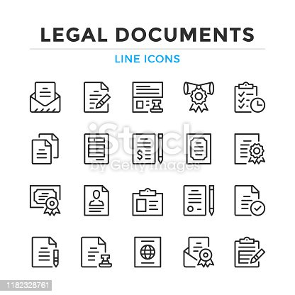 Legal documents line icons set. Modern outline elements, graphic design concepts. Stroke, linear style. Simple symbols collection. Vector line icons