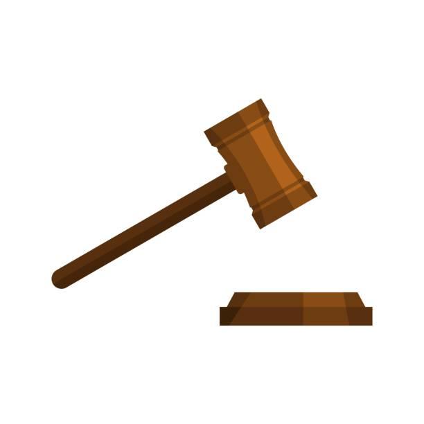 Legal gavel icon, flat style vector art illustration