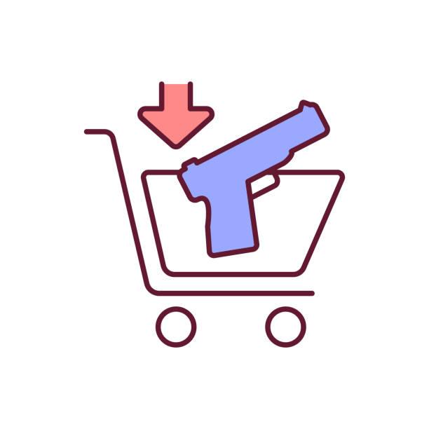 ilustraciones, imágenes clip art, dibujos animados e iconos de stock de icono de color rgb de compra de armas legales - civil rights