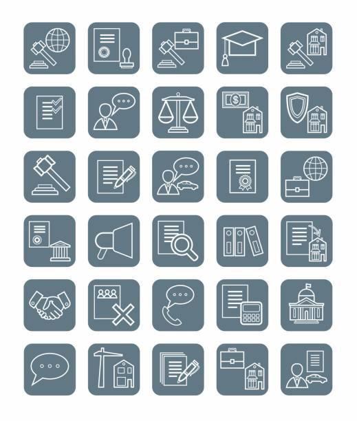 ilustrações, clipart, desenhos animados e ícones de ícones jurídica, linear, cinza, monocromático. - assistente jurídico