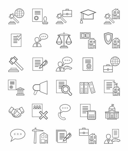 ilustrações, clipart, desenhos animados e ícones de ícones jurídica, linear, monótona. - assistente jurídico