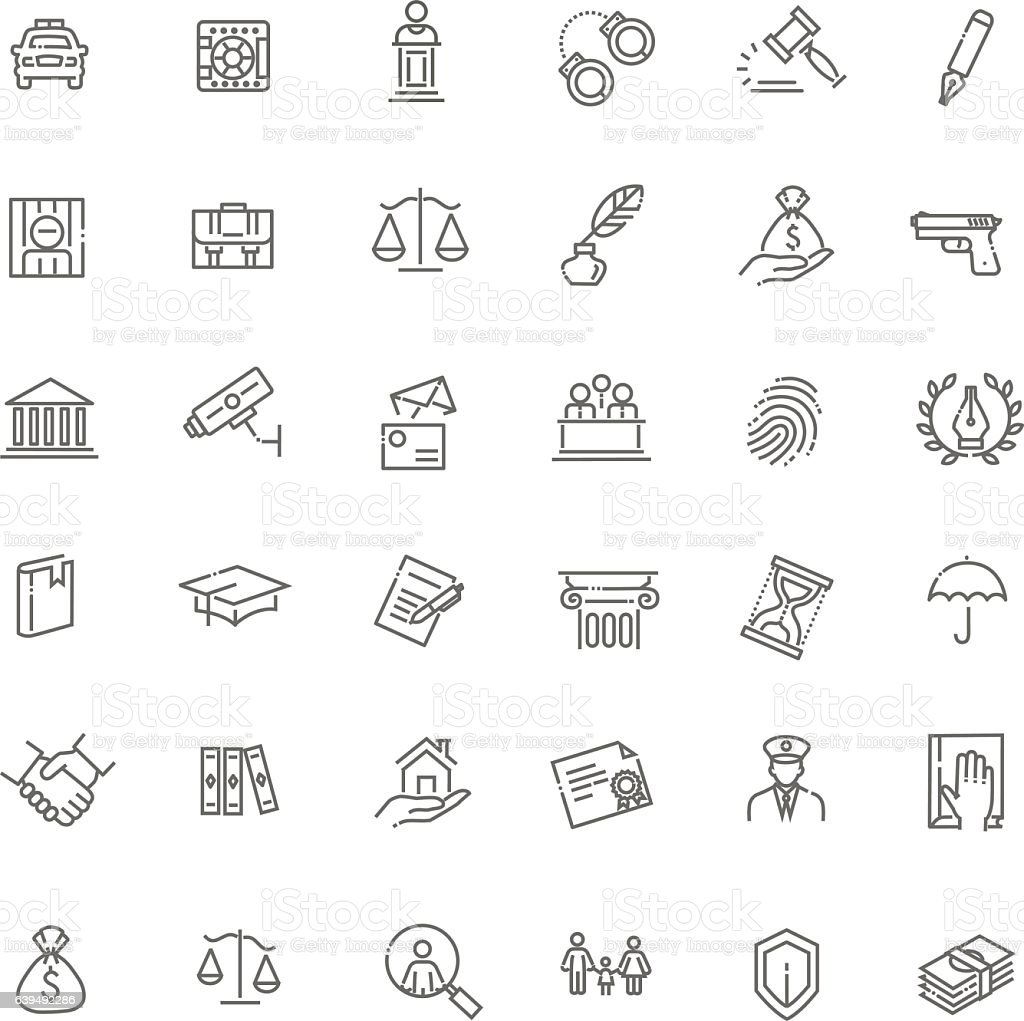 Legal, law and justice icon set vector art illustration