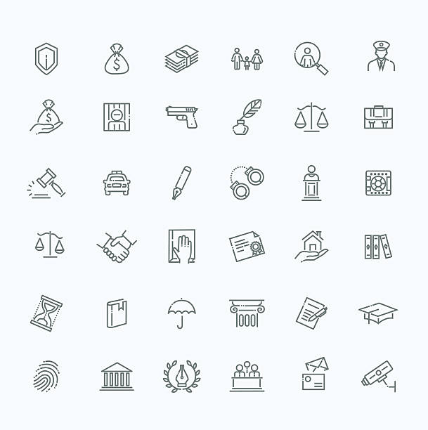 legal, law and justice icon set - lawyer stock illustrations, clip art, cartoons, & icons