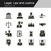 Legal, Law and Justice icons. Glyph design. For presentation, graphic design, mobile application, web design, infographics, UI.
