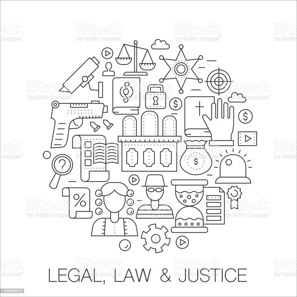 hukuk hukuk ve adalet daire kavram hat illustrasyon kapak amblem rozeti icin ince cizgi kontur icons set stok vektor sanati abd nin daha fazla gorseli istock