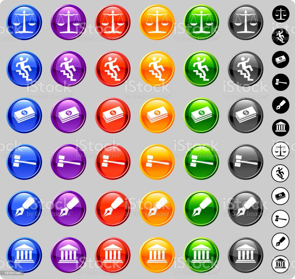 legal law Vector Icons. Set of 6 in six colors. royalty-free stock vector art