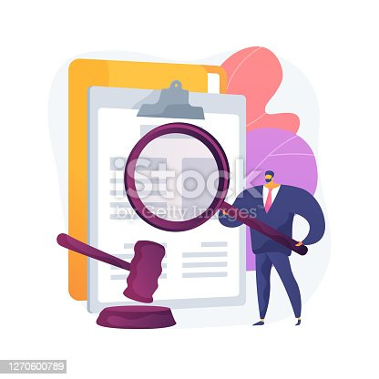 Legal research abstract concept vector illustration. Legal precedent, decision making, data collection, judge decision, statutes and regulations, jurisprudence, law dictionary abstract metaphor.