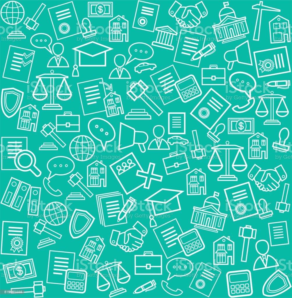Serviços jurídicos, fundo verde. - ilustração de arte em vetor