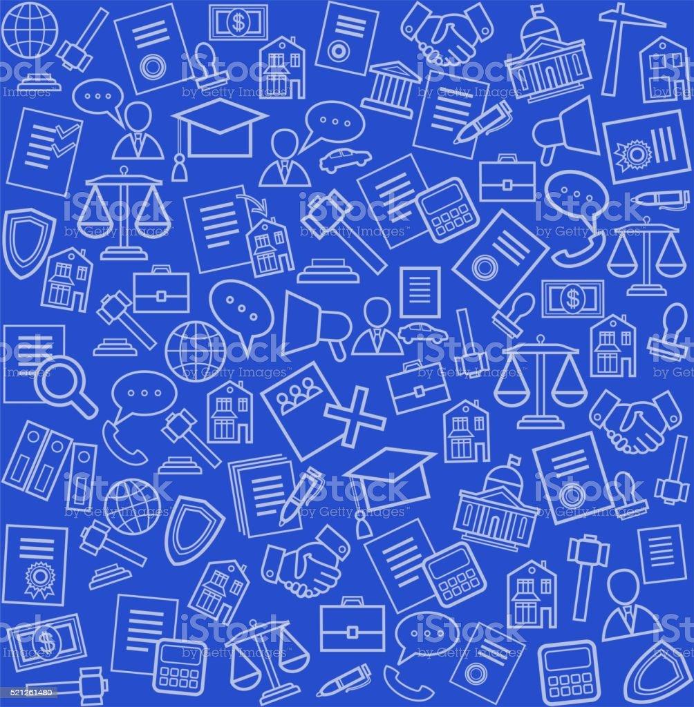 Serviços jurídicos, Fundo azul, sem costuras. - ilustração de arte em vetor