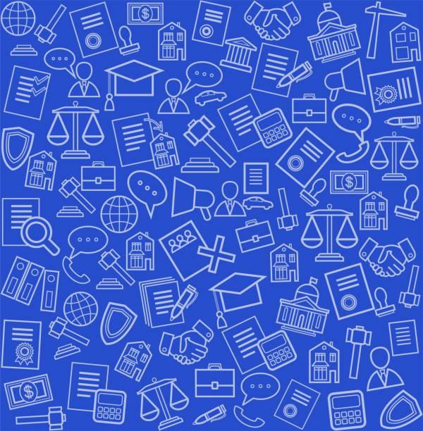 ilustrações, clipart, desenhos animados e ícones de serviços jurídicos, fundo azul, sem costuras. - assistente jurídico