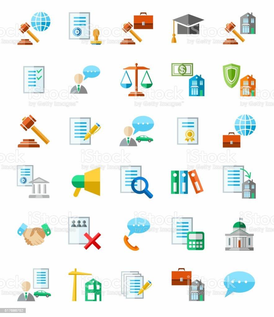 Serviços jurídicos, ícones coloridas, com fundo branco. - ilustração de arte em vetor