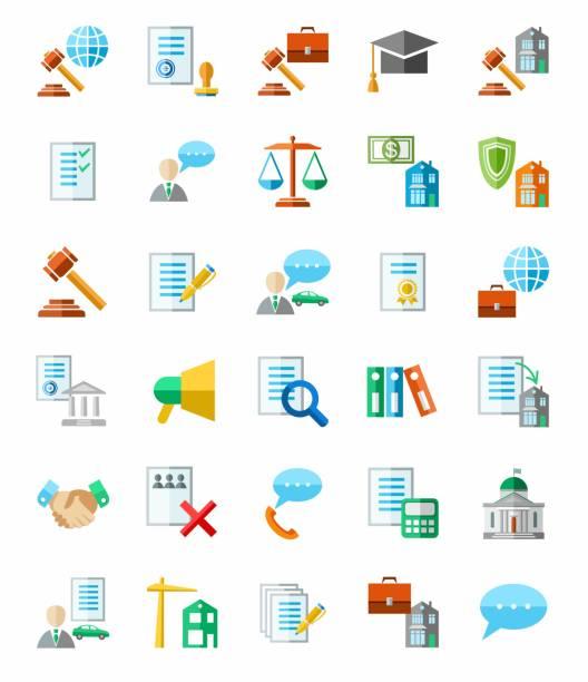 ilustrações, clipart, desenhos animados e ícones de serviços jurídicos, ícones coloridas, com fundo branco. - assistente jurídico