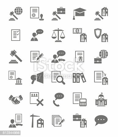 Vector icons of legal services. Monochrome, flat icons on white background.