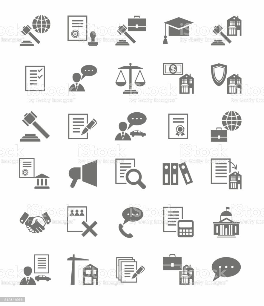 Legal services flat icons. vector art illustration