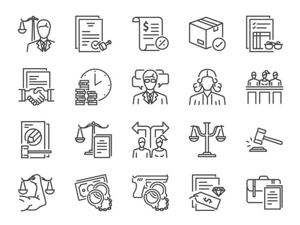 Legal services icon set. Included icons as law, lawyer, judge, court, advocacy and more. Legal services icon set. Included icons as law, lawyer, judge, court, advocacy and more. intellectual property stock illustrations