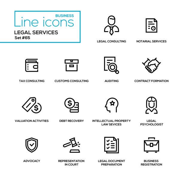 juristische dienstleistungen - set linie design-ikonen - arbeitsvermittlung stock-grafiken, -clipart, -cartoons und -symbole