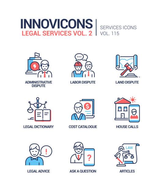 Legal services - line design style icons set vector art illustration