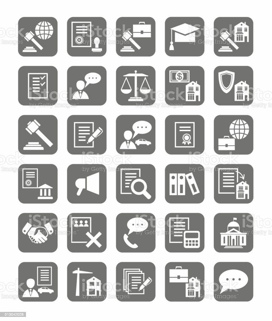 Serviços jurídicos, os ícones, monocromático. - ilustração de arte em vetor