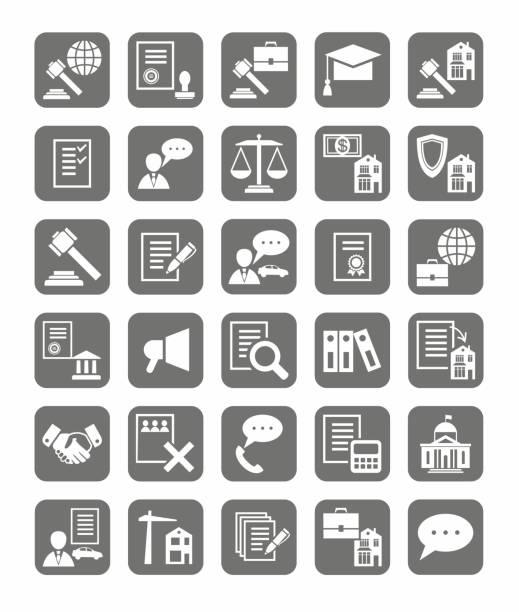 ilustrações, clipart, desenhos animados e ícones de serviços jurídicos, os ícones, monocromático. - assistente jurídico