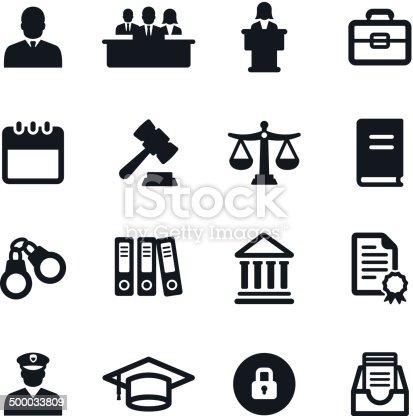 Black & white legal system icons