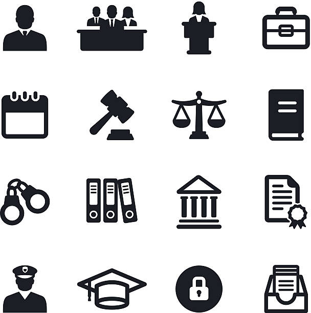 Legal System Icons Black & white legal system icons courthouse stock illustrations