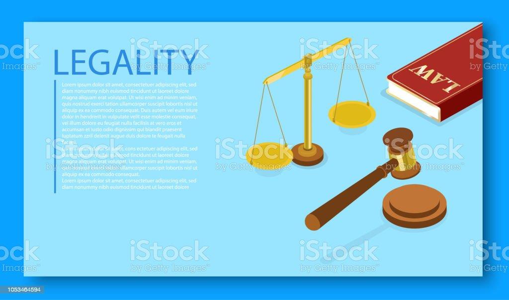 Modelo de página de aterrissagem legalidade com martelo judicial. - ilustração de arte em vetor