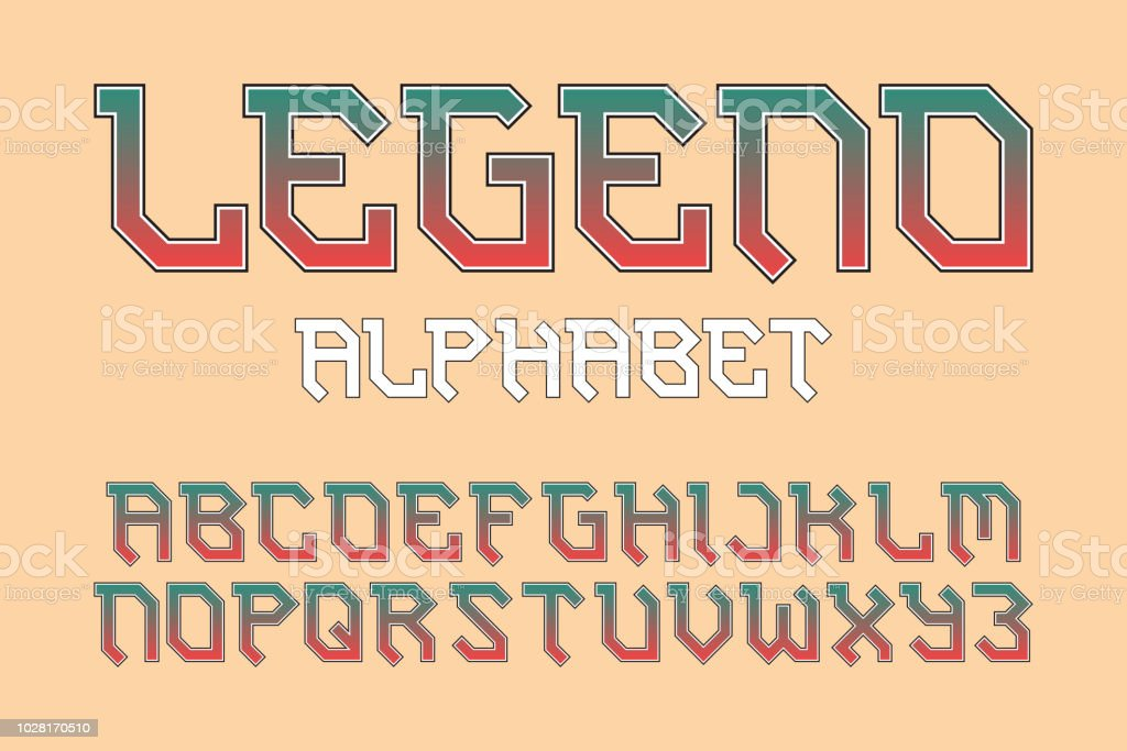 Legend Alphabet Stylish Biker Font Isolated English Alphabet Stock