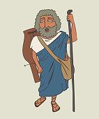 legendary ancient greek bard Homer cartoon
