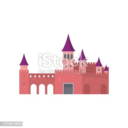 Legendary red brick castle with beautiful purple roof for king princess. Flat style. Vector illustration on white background