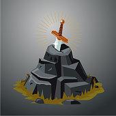 Legendary sword in stone. Excalibur. Vector illustration. Game design concept.