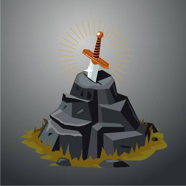 legendäres schwert im stein. excalibur. vektor-illustration. game-design-konzept. - feststecken stock-grafiken, -clipart, -cartoons und -symbole