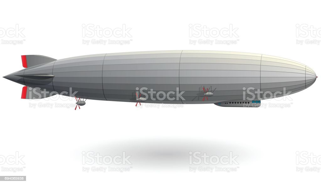 Legendary zeppelin airship. Stylized flying balloon. Dirigible with rudder and propellers.