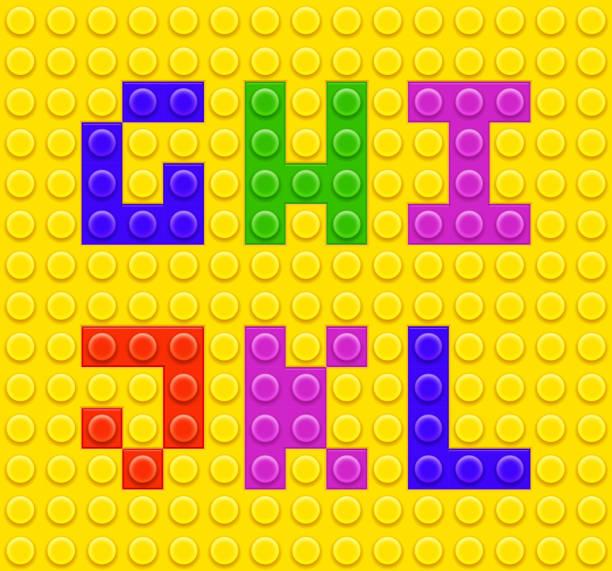 stockillustraties, clipart, cartoons en iconen met lego blocks alphabet 2 - lego