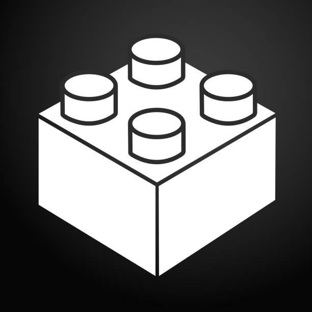 stockillustraties, clipart, cartoons en iconen met lego baksteen blokkeren of stuk lijn kunst vector pictogram voor speelgoed apps en websites - lego