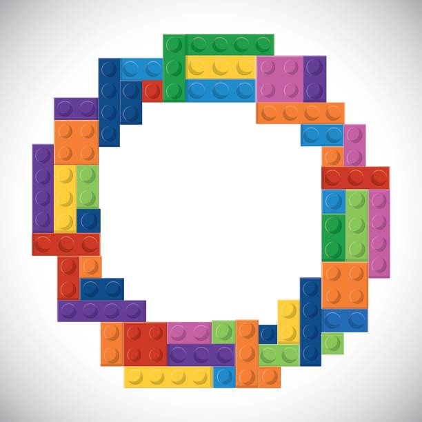 stockillustraties, clipart, cartoons en iconen met lego pictogram. abstracte cirkel figuur. vectorafbeelding - lego