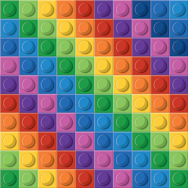 stockillustraties, clipart, cartoons en iconen met lego pictogram. abstracte figuur. veelkleurige.  vector graphi - lego