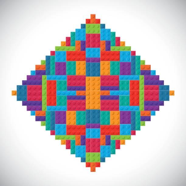 stockillustraties, clipart, cartoons en iconen met lego pictogram. abstract frame figuur. vectorafbeelding - lego