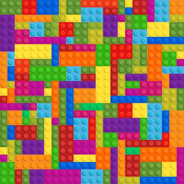 stockillustraties, clipart, cartoons en iconen met lego plastic speelgoed vector naadloze - lego
